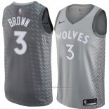 Maillot Minnesota Timberwolves Anthony Brown #3 Ville 2018 Gris