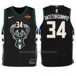 Maillot Enfant Milwaukee Bucks Giannis Antetokounmpo #34 Statement Harlry 2017-18 Noir