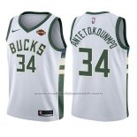 Maillot Enfant Milwaukee Bucks Giannis Antetokounmpo #34 Association 2017-18 Blanc