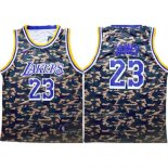 Maillot Camouflage Los Angeles Lakers Lebron James #23 Vert