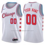 Maillot Chicago Bulls Personnalise 17-18 Blanc