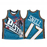 Maillot Detroit Pistons Tony Snell #17 Mitchell & Ness Big Face Bleu