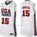 Maillot USA 1992 Magic Johnson #15 Blanc