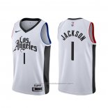 Maillot Los Angeles Clippers Reggie Jackson #1 Ville Blanc