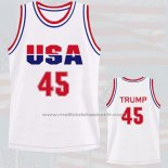Maillot USA 1992 Donald Trump #45 Blanc