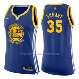 Maillot Femme Golden State Warriors Kevin Durant #35 Icon 2017-18 Bleu