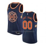 Maillot New York Knicks Personnalise Ville 2017-18 Bleu
