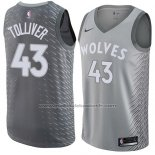 Maillot Minnesota Timberwolves Anthony Tolliver #43 Ville 2017-18 Gris