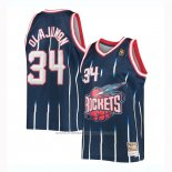 Maillot Houston Rockets Hakeem Olajuwon #34 Mitchell & Ness Bleu
