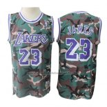 Maillot Los Angeles Lakers Lebron James #23 Camouflage Vert