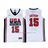 Maillot USA 1992 Carmelo Anthony #15 Blanc